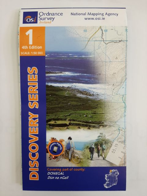 OS Discovery Sheet 1 Donegal - North West 1:50 000 scale - Full Colour